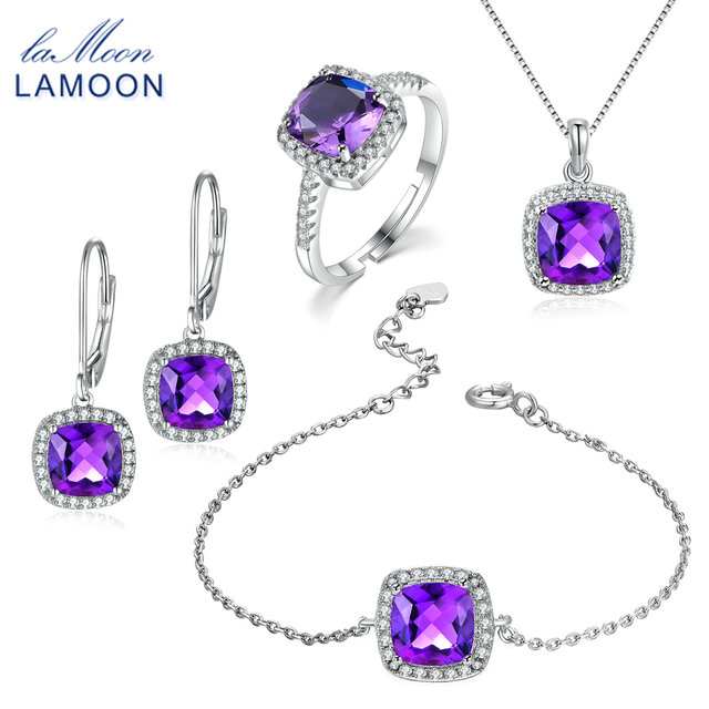 Lamoon square cut 100 natural purple amethyst jewelry sets 925 lamoon square cut 100 natural purple amethyst jewelry sets 925 sterling silver ringearrings aloadofball Images