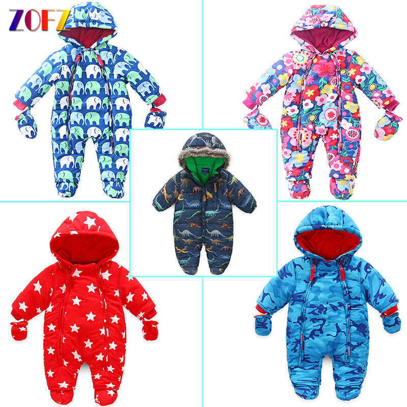 ZOFZ Fashion Baby Clothes for Boys Winter Warm jumpsuit for Girls Cute Print Baby Rompers New Cotton Comfortable Babies Clothing autumn winter baby hats new fashion children warm ball hat double color boys and girls cotton caps beanies baby knitted hat
