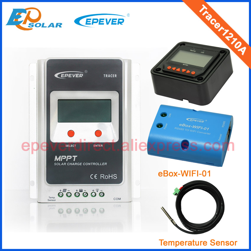 Tracer1210A Solar battery charger Max Pv Input 100v 10A MPPT with MT50 wifi and temperature sensor 12v 24v auto type