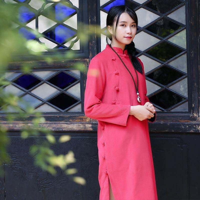 Vintage littéraire hiver épais velours côtelé robe longue Section Plus velours coton plaque boucle matelassé vêtements république pays femmes