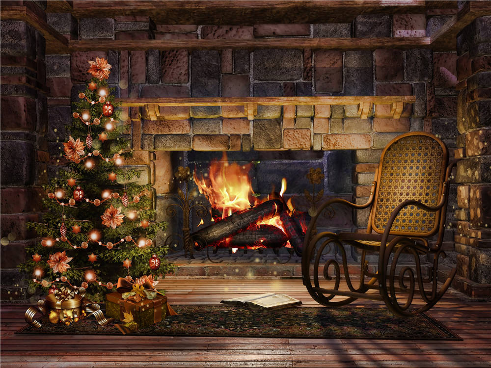 Buy christmas trees photo props rocking for Decorazione wallpaper