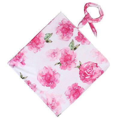 Helen115 Pretty Newborn Baby Boys Girls Floral Printed Baby Sleeping Swaddle Muslin Wrap+Headband