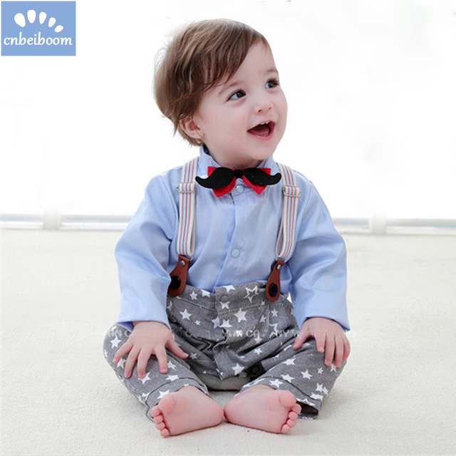 c55cc1d1399f 2018 Baby boy clothes gentleman bow tie suspenders stars romper outfit full  sleeves toddler kids jumpsuit costume clothing