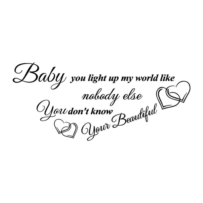 Home decoration Baby You Light Up My World Like Removable Art Vinyl Mural Home Room Deco ...