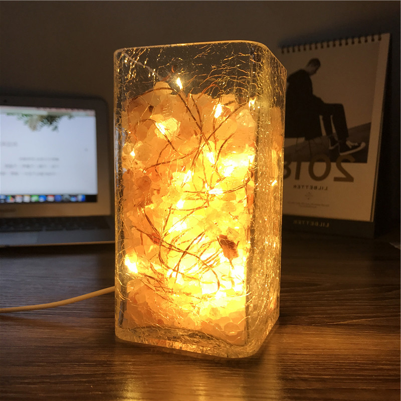 Creative atmosphere salt lamp LED night lamp bedside lamp Nordic personality ice cracking glass table lamp warm bedroom