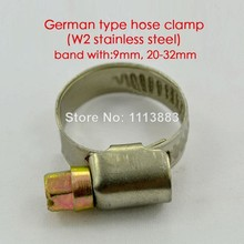 German type W2 stainless steel pipe tube clamps hose clips\u0028band width 9mm ,20-32mm\u0029