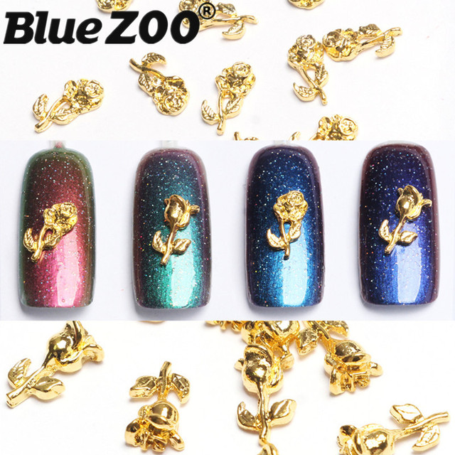 Aliexpress Buy 20pcslot Charms Nail Design Gold Rose Alloy 3d