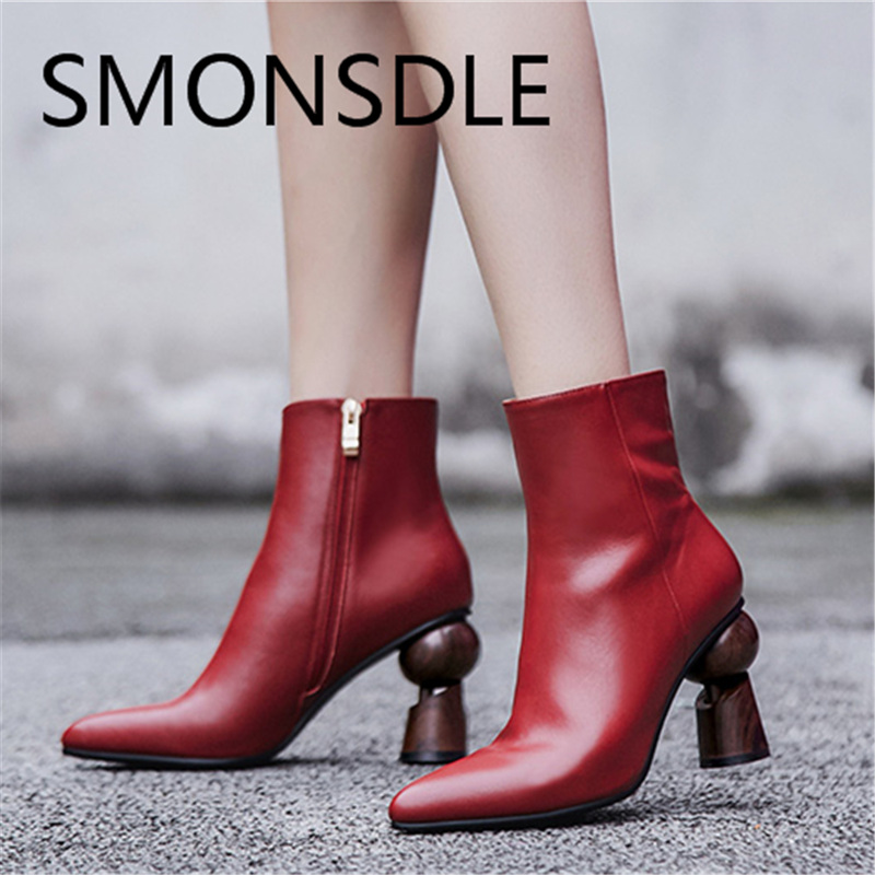 SMONSDLE Comfortable Casual Black Genuine Leather Women Ankle Boots Pointed Toe Side Zip Women Autumn Wonter Boot Shoes Woman smonsdle 2018 new woman ankle boots shoes side zip thin high heels pointed toe kid suede boots designer woman autumn winter boot