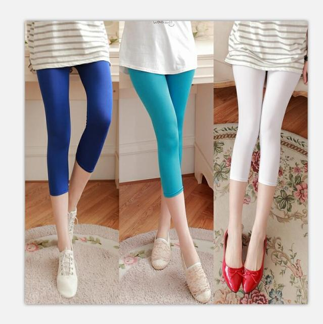 c4f09f52c4a Thin milk Elastic fabric pinkycolor Seven points Leggings Summer woman  Leggings Ice silk High elastic Slim