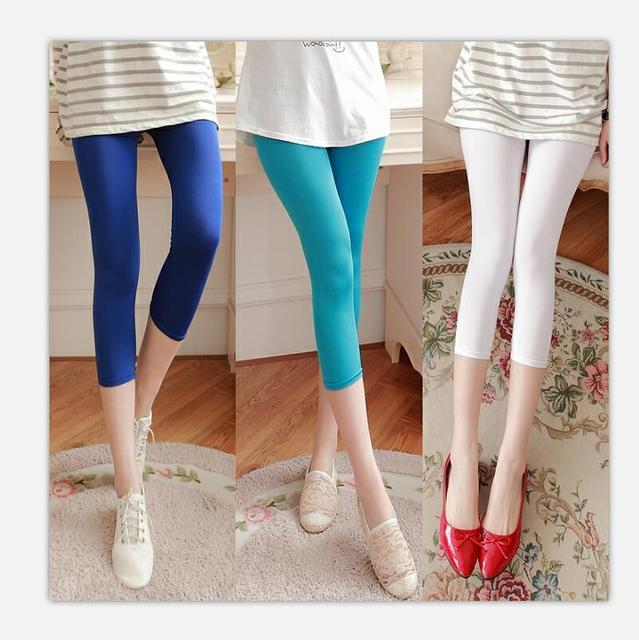 cda71aeeb7fe Thin milk Elastic fabric pinkycolor Seven points Leggings Summer woman  Leggings Ice silk High elastic Slim