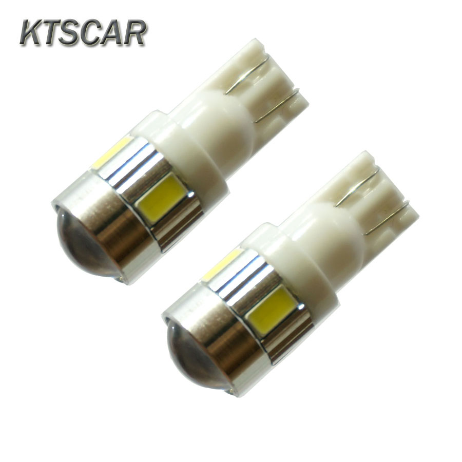 KTSCAR <font><b>100x</b></font> White <font><b>T10</b></font> <font><b>LED</b></font> W5W High Power 6 5630 SMD 5630 168 194 2825 Bulbs <font><b>Led</b></font> Lamp Car Parking Light License Position Light image
