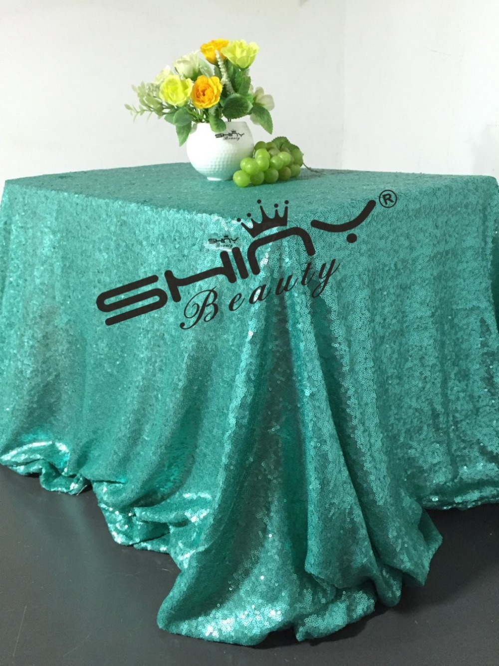 ShinyBeauty Popular Matte Green Sequin tablecloth On sale! Sequin Shimmer Tablecloth 60x102 RECTANGULAR-a