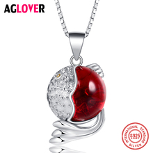 Solid 925 Sterling Silver Fine Jewelry 12mm Created Round Ruby Pendant Necklace For Women jewelrypalace luxury pear cut 7 4ct created emerald solid 925 sterling silver pendant necklace 45cm chain for women 2018 hot