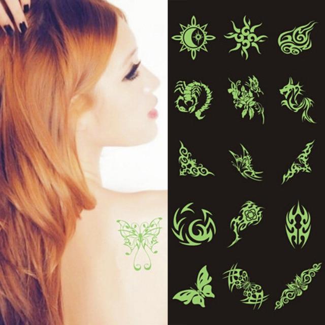 Glow In The Dark Flash Darkness Tattoos Sticker Variety Luminous Fake Tattoo Sticker Night Body Temporary Tattoos