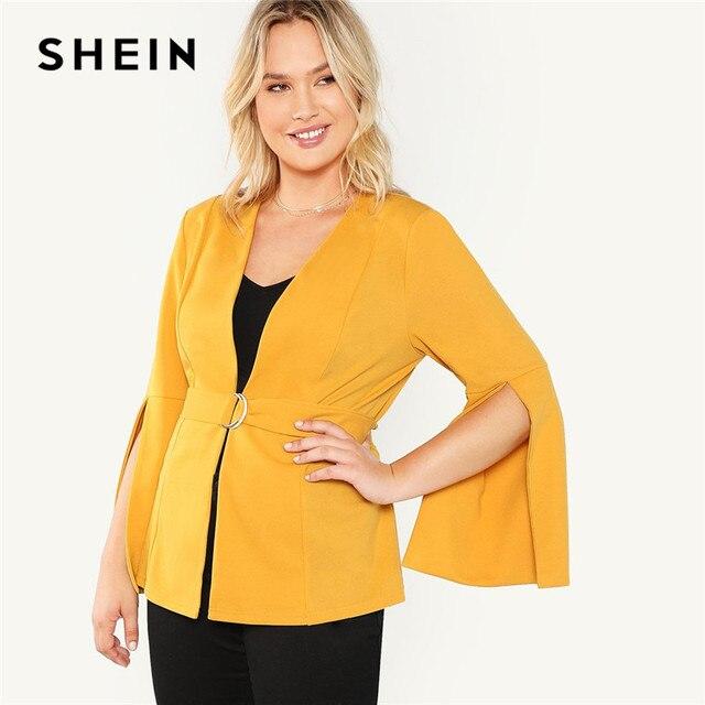 350305a45a SHEIN Plus Size Split Sleeve Belted Women Workwear Blazer Long Sleeve Plain  Wrap Outerwear Autumn Office