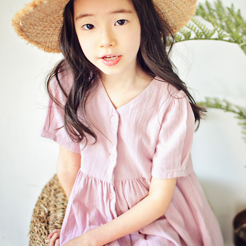 2018 Brand Designers V Neck Beach Dress Kids Long Dress Cardigan Girls Party Dress Loose Summer Clothes For 4 5 6 7 8 9 10 Years ruched polka dotted v neck jersey dress plum beige 8