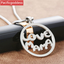 stainless steel necklaces pendant round mama shape for best gift