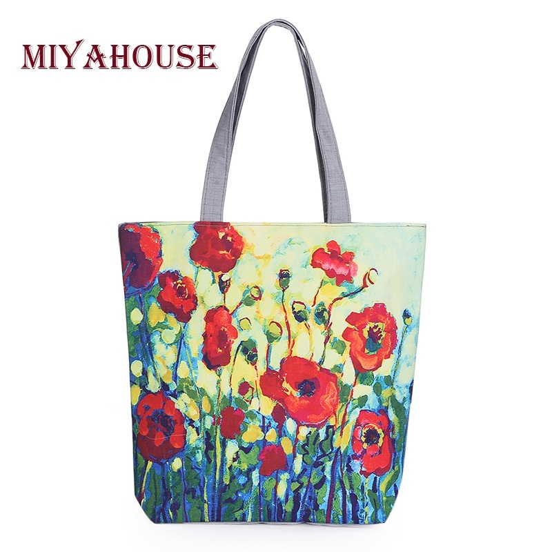 Miyahouse Floral Printed Canvas Tote Female Single Shopping Bags Large Capacity