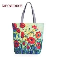 Miyahouse floral dicetak kanvas tote tas belanja kapasitas besar wanita kanvas perempuan tunggal pantai tas kasual tote feminina