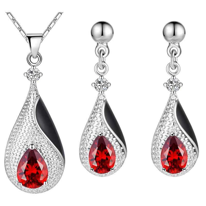 Platinum plated suit 925 sterling silver earrings necklace made new diamond kit water fashion