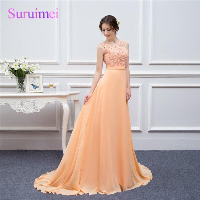 Haute qualité robe pour robes de bal longue robe de soirée pêche dentelle longueur de plancher longue robe de bal