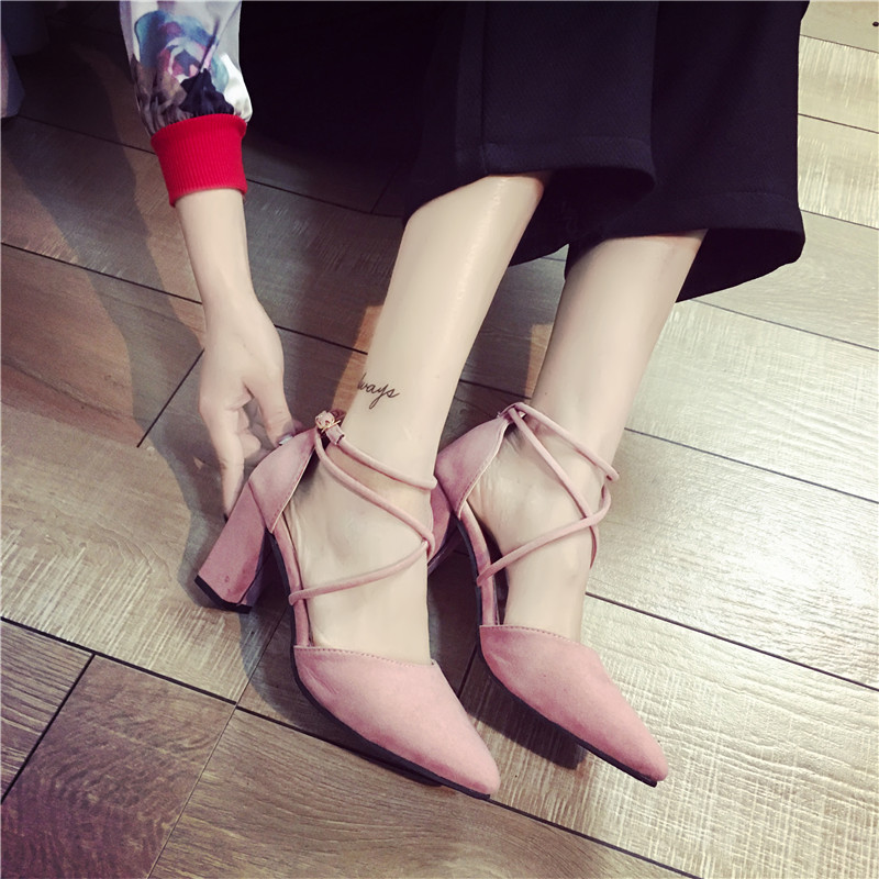 2017 thick heel sandals female pointed toe high-heeled shoes cross straps brief sexy women's shallow mouth shoes 2017 european summer with rome female high heeled sandals a cross strap fish mouth sexy toe lacing shoes fine with large yards