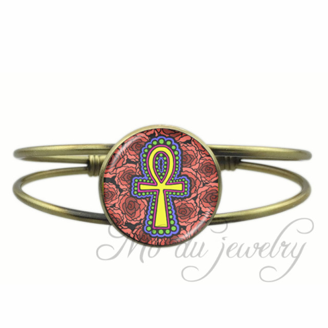 Egyptian Ankh Eternal Life Symbol Open Cuff Bangle Egyptian Cross