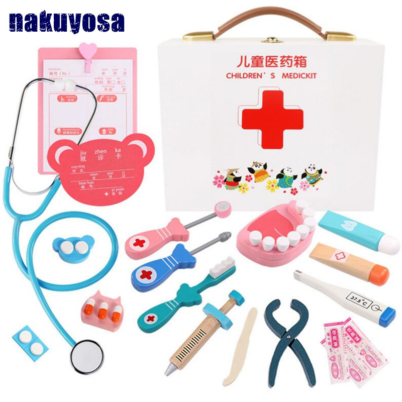 tooth doctor Pretend Play Wooden Nurse Medical Set Montessori Educational Toys for Children Kids Toy Role