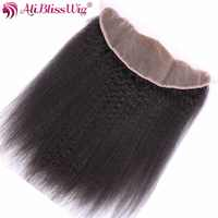 AliBlissWig Kinky Straight Lace Frontal 13*4 Free Part Natural Color Brazilian Remy 100% Human Hair Hand Tied Free Shipping
