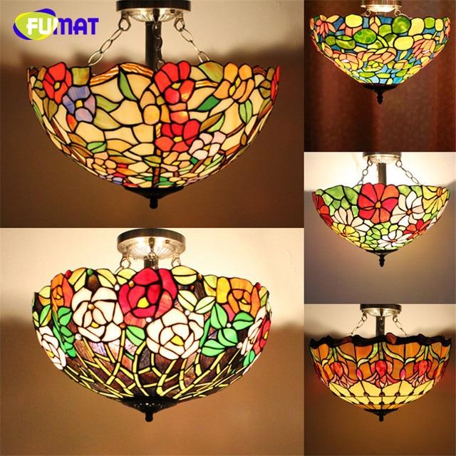FUMAT GLASS Ceiling Lamp Creative Art Stained Glass Suspension Lights Flower Baroque Restaurant Kitchen Hotel Lights Dia 40cm