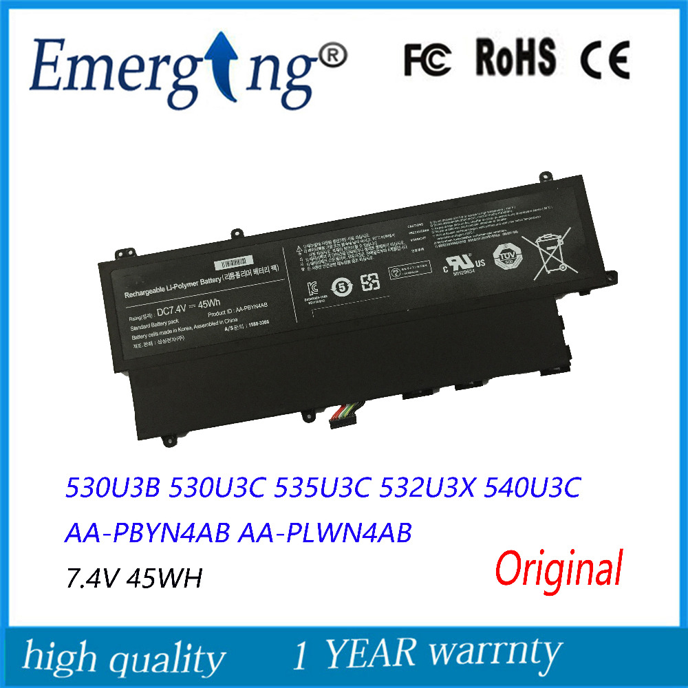 7.4V 45Wh New Original Laptop Battery for Samsung AA-PBYN4AB AA-PLWN4AB 530U3B 530U3C 535U3C 532U3X 540U3C jigu aa pbyn4ab original laptop battery for samsung for ultrabook 530u3b 530u3b a01 530u3c 530u3c a02 535u3c np530u3c 7 4v 45wh