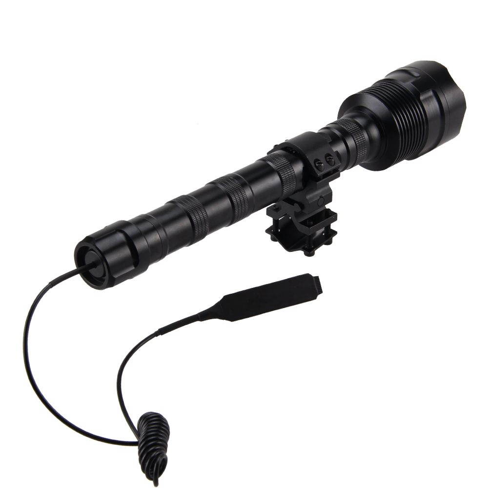 LED Tactical Gun Flashlight R5 Green/Red Torch Lantern Optional Rail 20mm Airsoft Rifle Scope Mount+18650 Battery+charger+switch