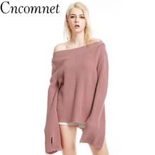 Spring Girl Knitted One Word Collar Trumpet Sleeve Pullover Individual New Large Size Solid Color Women Loose Sweater cross border special for 18 spring new knitted round collar spliced silk satin seven split sleeve a word dress