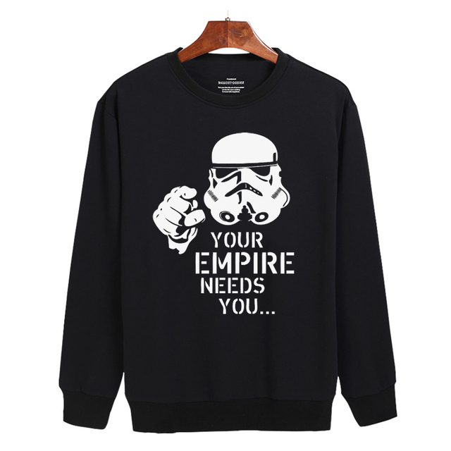 2016 New Star Wars Hoodies Mens Gray/Black High Quality cotton Sweatshirt Men with Harajuku Sweatshirt for teens  3XL