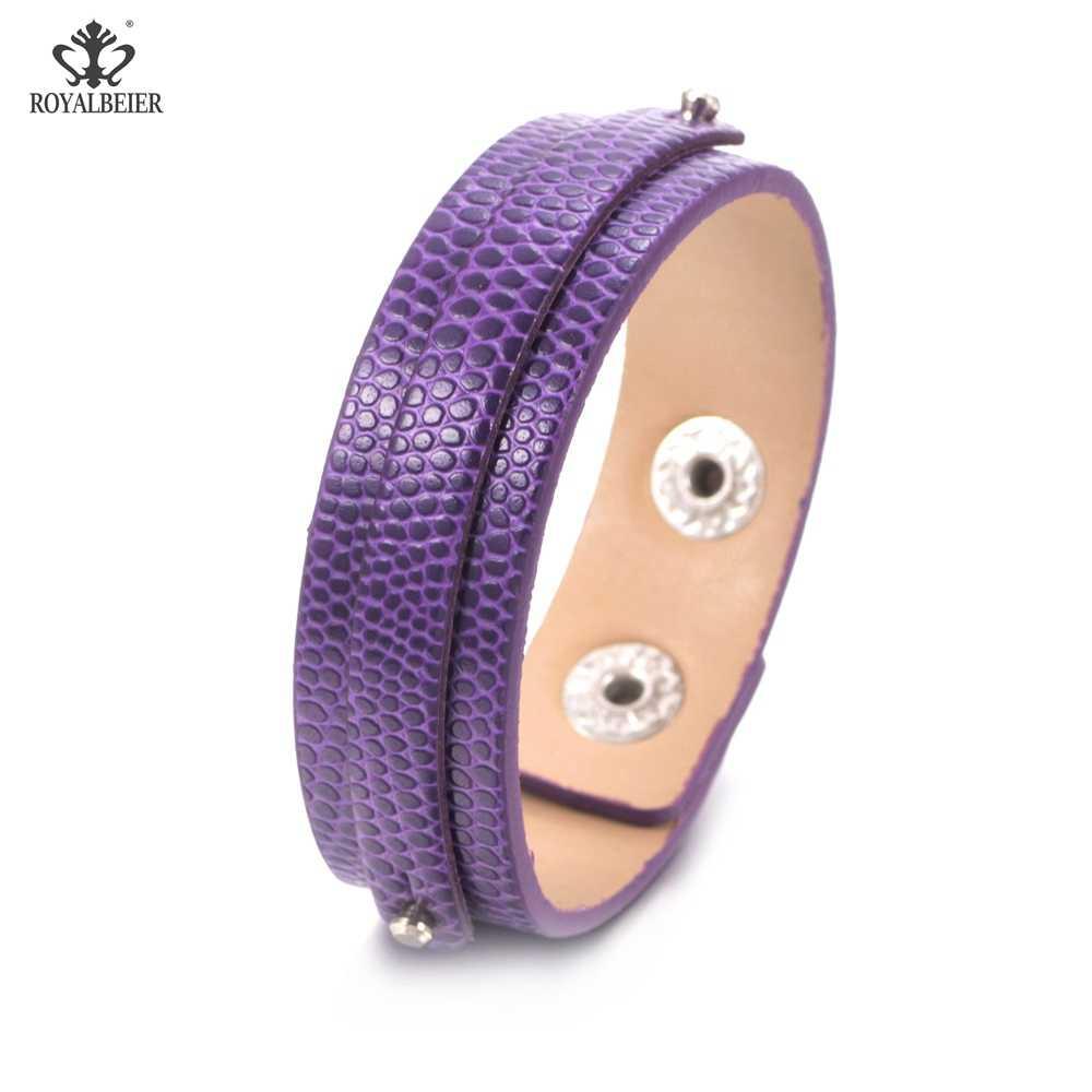 ROYALBEIER Charms 15 kolory Handmade oryginalna Wrap urocze męskie kobiece pulsera czarna skóra pleciona bransoletki bransoletki SZ0370