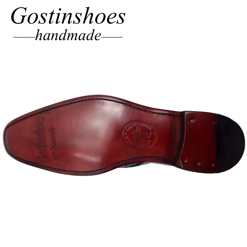 GOSTINSHOES HANDMADE Goodyear Welted Men Leather Casual Shoes Brown Color Hand Woven Slip On Men Loafers Genuine Leather SCZ049 in Men 39 s Casual Shoes from Shoes