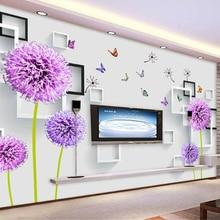 beibehang Custom stereoscopic decoration wallpaper dandelion butterfly box 3D