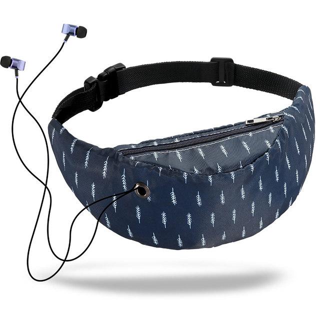 Waterproof 3D Colorful Print women waist Bags with Headphone Jack