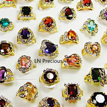 10Pcs Classic Rhinestone Zirconia Gold Finger Rings for Women Whole Bulk Jewelry Lot LR078 Free Shipping