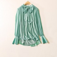 New 2018 Spring Summer Fashion Women Long Sleeve Blouse Solid Color Chiffon Tops Loose Elegant Bow