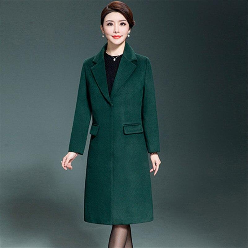 Vintage D'hiver Noir Coréenne camel bourgogne De Hiver vert Style bleu 2018 Royal Mode Femmes Manteau Cachemire Long Élégant Laine gnFPxqHOX