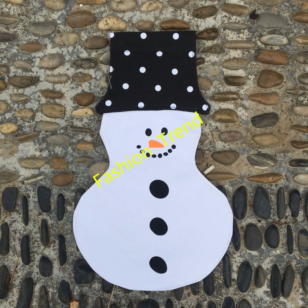 50pcs/lot free shipping wholesale Customs Christmas personalized snowman garden flag canvas garden flags outdoor decoration