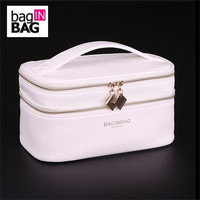 Baginbag Double Layer Cosmetic Bag Cross PU Cosmetics Multifunctional Make Up Makeup Bag Toiletry Bag Black