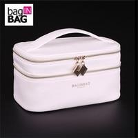 Baginbag Double Layer Cosmetic Bag Cross PU Cosmetics Multifunctional Make Up Makeup Bag Toiletry Bag Black