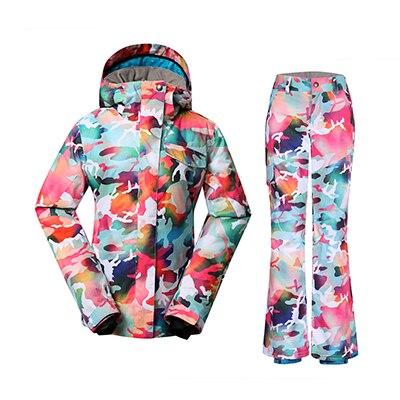 GSOU SNOW combinaison de Ski femme hiver extérieur coupe-vent imperméable épais chaud respirant veste de Ski pantalon de Ski taille XS-L - 4
