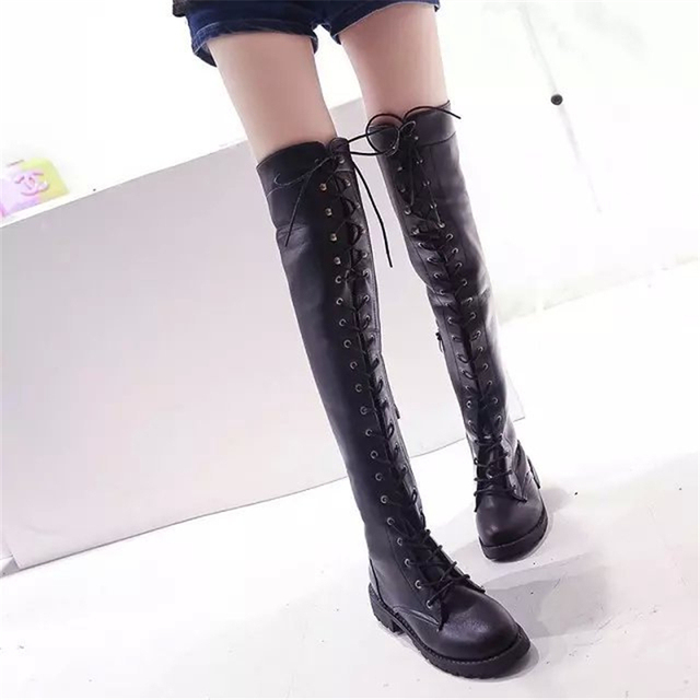 411d1901d75 Fashion 2016 Women Shoes Autumn Faux Leather Women Over knee Boots Platform Lace  Up Sexy Ladies High heels Boots Shoes