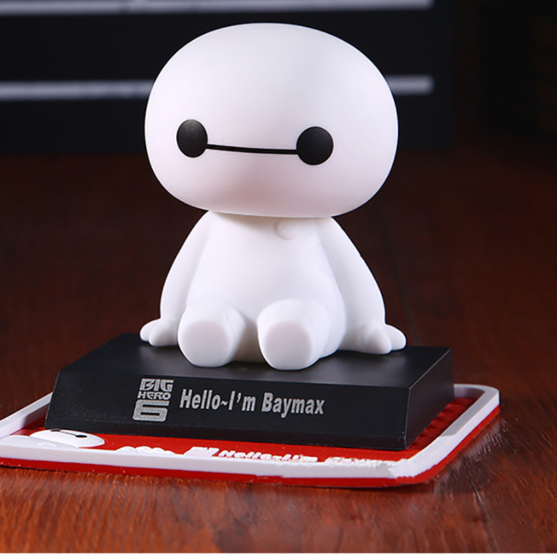 Do Dower 1pcs 10cm Plastic Movie TV Peripherals Toy Model Automobile Head Shaking Baymax Action Figure Toy Car Kid Gift head shaking cute cat style toy for car decoration white
