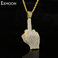 EX MOON Mens Hip Hop Silver Gold Color Full Rhinestone Necklace Big Middle Finger Pendants Necklaces