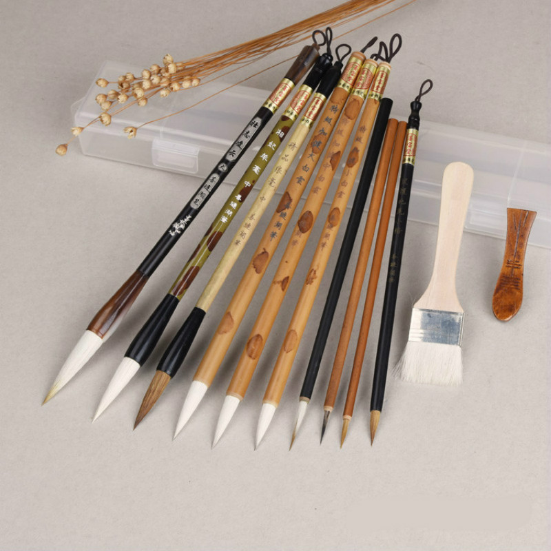Chinese Calligraphy Brushes Pen Traditional Chinese Painting Brush Set Landscape Watercolor Painting Claborate-style Painting traditional chinese water lily painting pattern square shape pillowcase