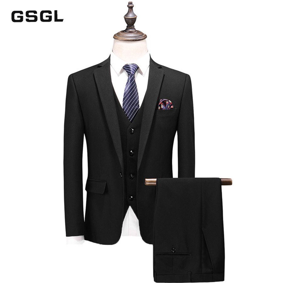 Blazers Pants Vest Sets New Fashion Groom Wedding Dress Suits Men's Casual Business 3 Piece Suit Jacket Coat Trousers
